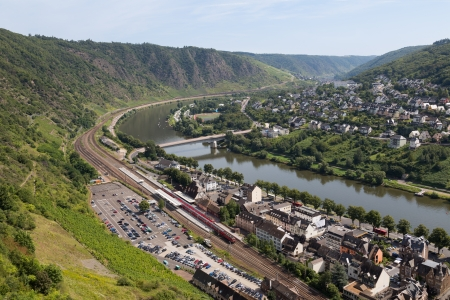 mosel: Cityscape of Cochem, historic German city along the river Moselle Stock Photo