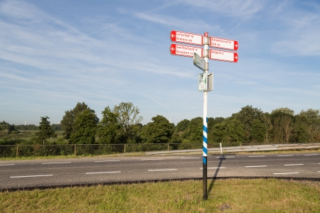 Traffic sign in the farmland of Flevoland, the Netherlands Stockfoto