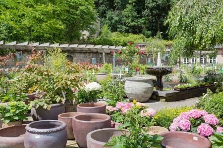 Tuincentrum met grote steen bloempotten Stockfoto