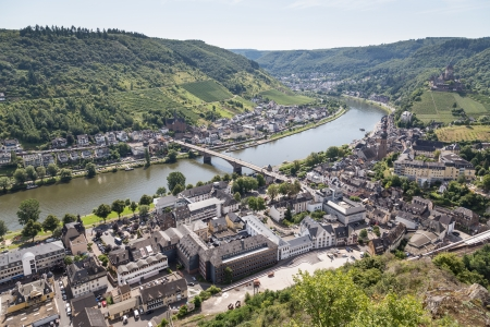 mosel: Aerial view of German city Cochem along the river Moselle