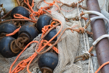 Fishing nets with chains and ropes Stock Photo - 17124489