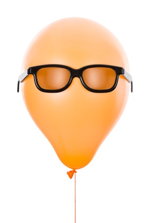 Orange balloon with sunglasses, isolated on white photo