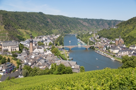mosel: Aerial view at Cochem and river Moselle in Germany Stock Photo