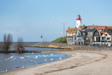 Cityscape of Urk seen from the beach photo