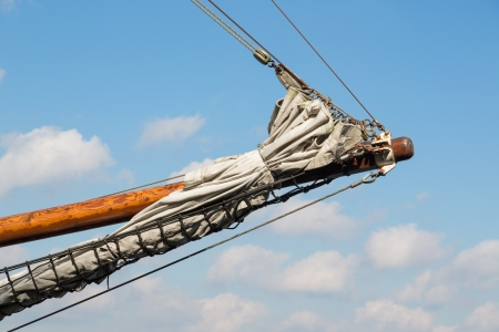 bowsprit: Bowsprit of a historic sailing ship Stock Photo