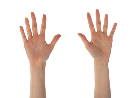 number ten: Female hands showing ten fingers isolated on white background