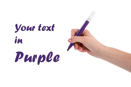Hand writing with purple pencil isolated on white background photo