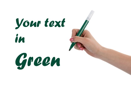 Hand writing with green pencil isolated on white background photo
