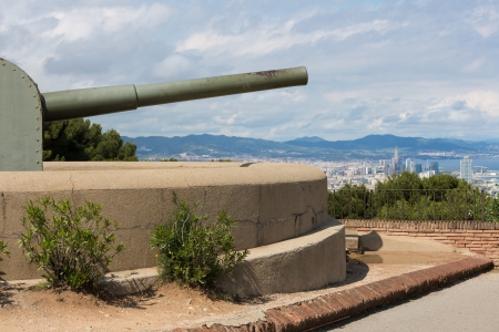 Castle of Montjuic with old canon in Barcelona