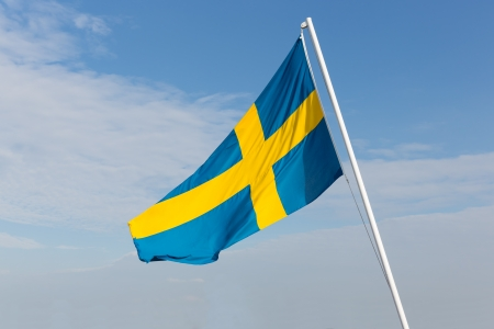 Flag of Sweden blowing in the wind photo