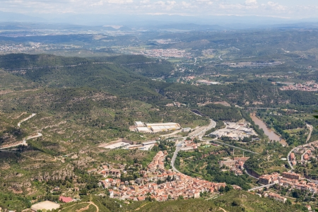 spanish village: Aerial view at small Spanish village near Montserrat in Catalonia Stock Photo