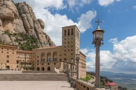 Overview Santa Maria de Montserrat monastery  Catalonia, Spain  Stock Photo