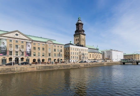 Goteborg - APRIL 26: View of the Big Harbor Canal with City Museum and Christina Church on April 26, 2013 in Goteborg, Sweden Redactioneel