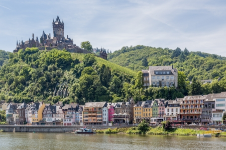 moseltal: Cochem with castle along river Moselle in Germany