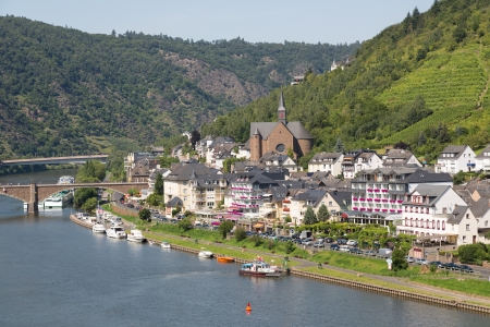 mosel: Aerial cityview of Cochem along river Moselle in Germany