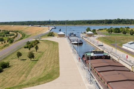 wheelhouse: Big sluice with ships in Mittellandkanal in Germany Stock Photo