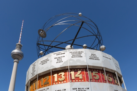 Television tower and world clock at Alexanderplatz in Berlin Stock Photo