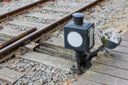 manually: Old manually control device for a railway switch Stock Photo