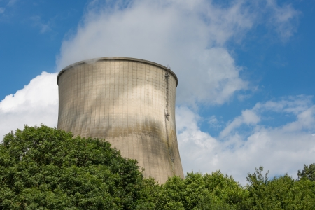 Big cooling-tower of a power plant producing electricity photo