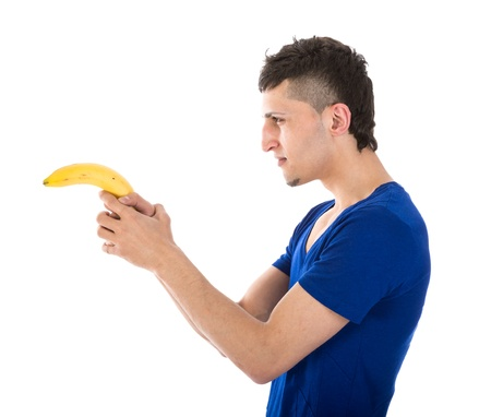 Man shooting with a banana photo