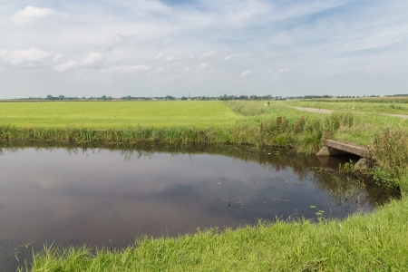 culvert: Dutch countryside with waterway and concrete culvert