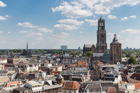 Aerial cityscape of medieval city Utrecht, fourth city of the Netherlands 免版税图像