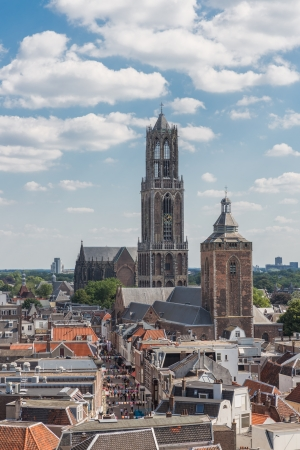 utrecht: Aerial cityscape of medieval city Utrecht, fourth city of the Netherlands Stock Photo