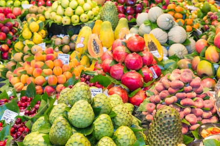 Fresh fruits at a market of Barcelona photo
