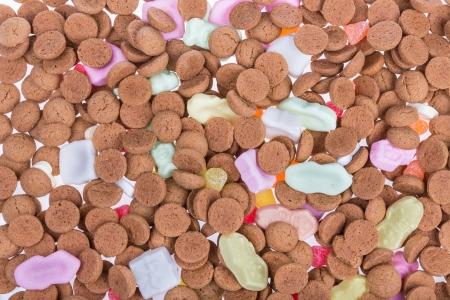 Achtergrond van pepernoten ans zoetigheden Typische Nederlandse snoep op Sinterklaas gebeurtenis in december Stockfoto - 23178968