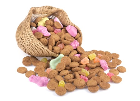 Jute bag with ginger nuts and sweets  Typical Dutch candy for Sinterklaas event in december