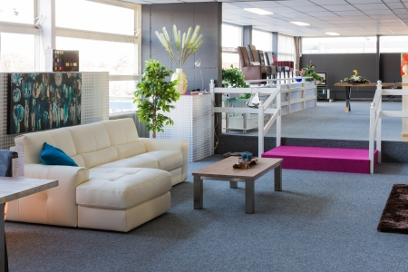 carpet and flooring: Showroom of modern furniture store