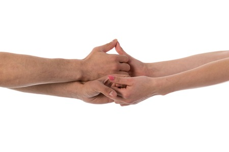 Four hands holding each other isolated over white photo