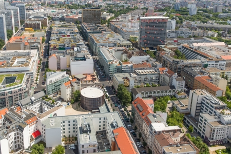 Aerial view of apartment buildings in Berlin, Germany photo