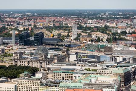Aerial view of Berlin with Reichstag and Hauptbanhof photo