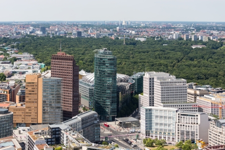 Aerial view of Berlin with Potsdamer Platz and public park Tiergarten photo