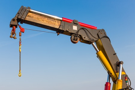 elevator operator: Crane with detail of a jib Stock Photo