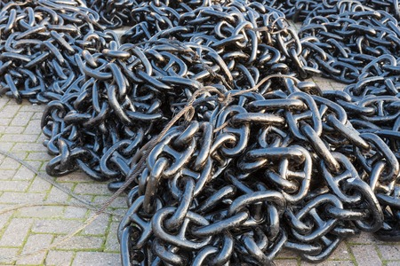 Heap of heavy iron chains photo