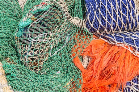 Background of colorful fishing nets photo