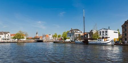 Cityscape of old historical Dutch city Delft