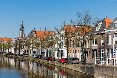 Cityscape of Delft with canal and historic houses, the Netherlands photo