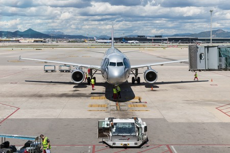 just arrived: BARCELONA, SPAIN - MAY 18  A plane has just arrived at the airport of Barcelona on May 18, 2013 at Barcelona in Spain