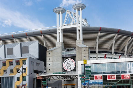 ajax: AMSTERDAM, THE NETHERLANDS - MAY 23  Exterior soccer stadium Ajax Arena from the Dutch football club Ajax on May 23, 2014 in Amsterdam, the Netherlands