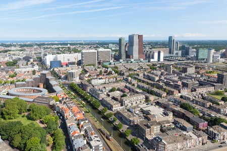 Aerial cityscape of The Hague, governmental city of the Netherlands 免版税图像