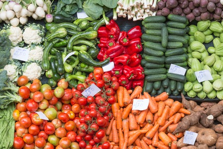 Fruits and vegetables at Funchal market, Madeira, Portugal Stock Photo