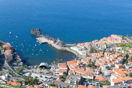 Aerial view harbor of Camara de Lobos at Madeira Island, Portugal