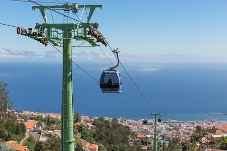 Kabelbaan naar Monte in Funchal, Madeira Island Portugal met luchtfoto op de stad Stockfoto - 30876712