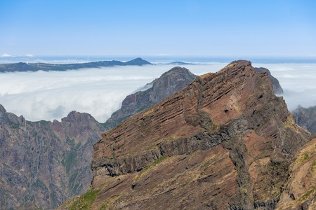 stratification: Mountain landscape with low-slung clouds at Madeira seen from Pico do Arieira, Portugal