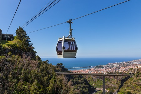 Cable car to Monte with aerial view at the city Funchal, Madeira Island, Portugal photo