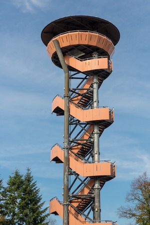 lookout: Watch tower in the forest near Nunspeet, The Netherlands
