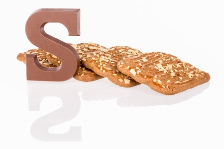 '5 december': Chocolate letter and biscuits Dutch sweets at 5 december Sinterklaas party